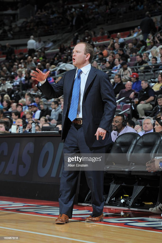 Lawrence Frank, Head Coach of the Detroit Pistons, reacts during the game against the Brooklyn Nets on March 18, 2013 at The Palace of Auburn Hills in Auburn Hills, Michigan.