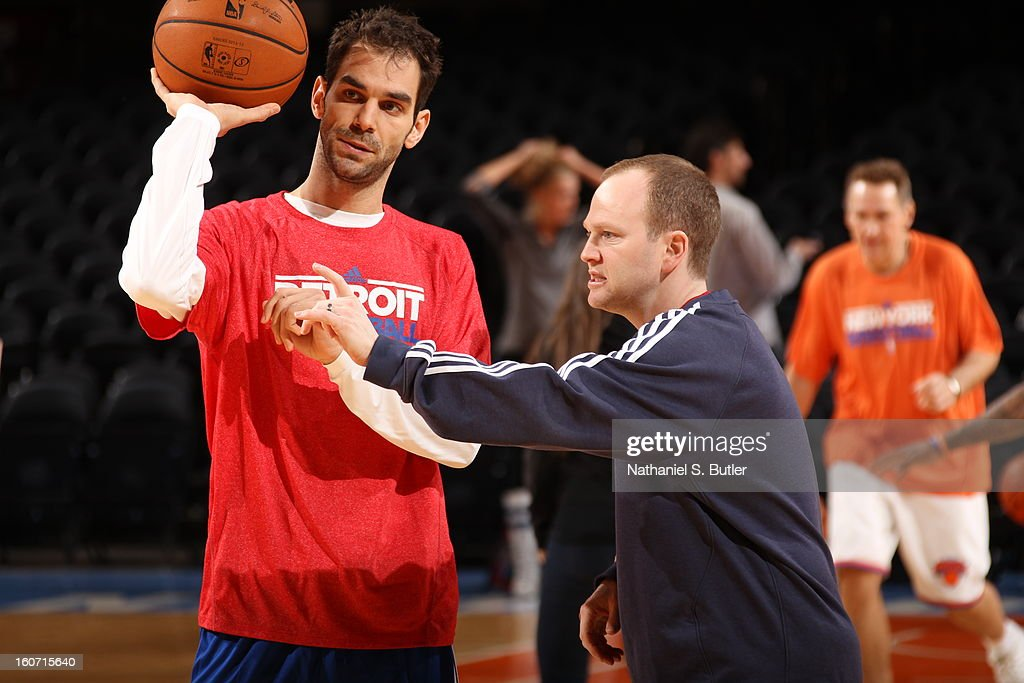 Lawrence Frank, Head Coach of the Detroit Pistons talks to Jose Calderon #8 of the Detroit Pistons before a game played against the New York Knicks on February 4, 2013 at Madison Square Garden in New York City.