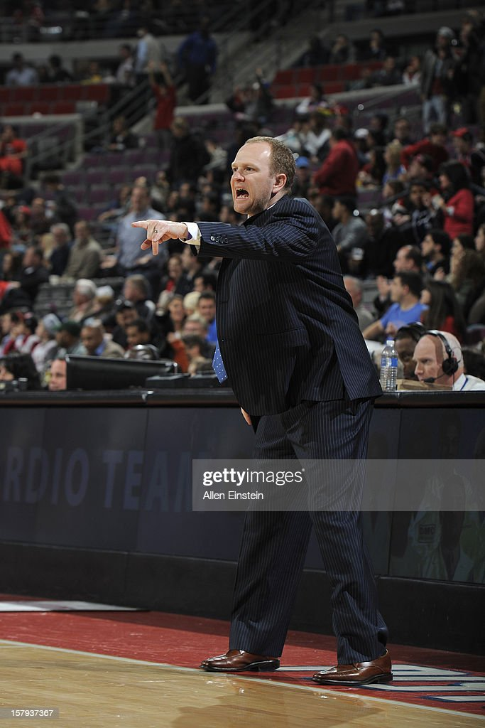 Lawrence Frank of the Detroit Pistons calls out to his team during the game against the Chicago Bulls on December 7, 2012 at The Palace of Auburn Hills in Auburn Hills, Michigan.