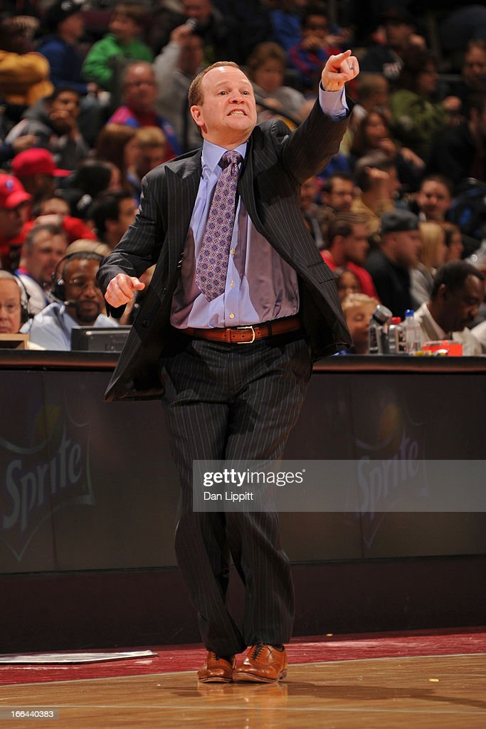 Lawrence Frank of the Detroit Pistons calls plays from the bench against the Charlotte Bobcats on April 12 2013 at The Palace of Auburn Hills in...