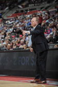 Lawrence Frank of the Detroit Pistons coaches his team from the sidelines during the game against the Washington Wizards on April 5 2012 at The...