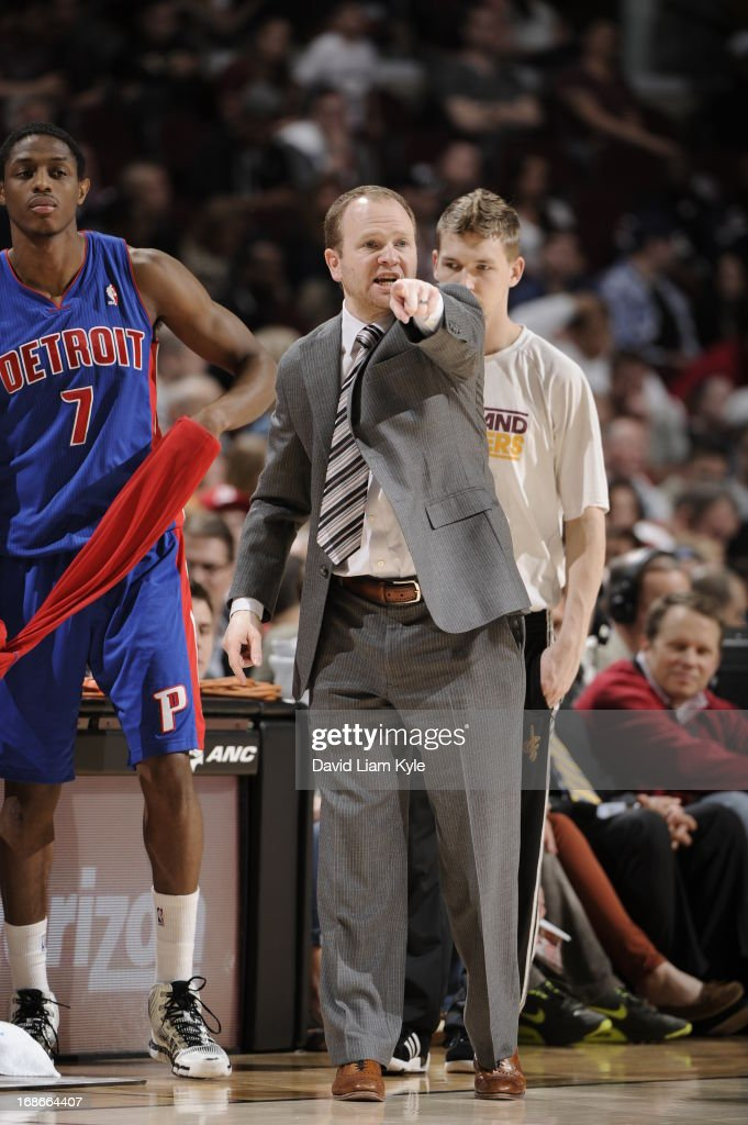 Lawrence Frank of the Detroit Pistons points during the game against the Cleveland Cavaliers at The Quicken Loans Arena on April 10 2013 in Cleveland...