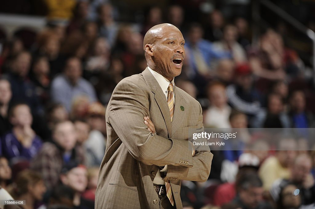 <a gi-track='captionPersonalityLinkClicked' href=/galleries/search?phrase=Lawrence+Frank&family=editorial&specificpeople=208918 ng-click='$event.stopPropagation()'>Lawrence Frank</a> of the Detroit Pistons yells during the game against the Cleveland Cavaliers at The Quicken Loans Arena on April 10, 2013 in Cleveland, Ohio.