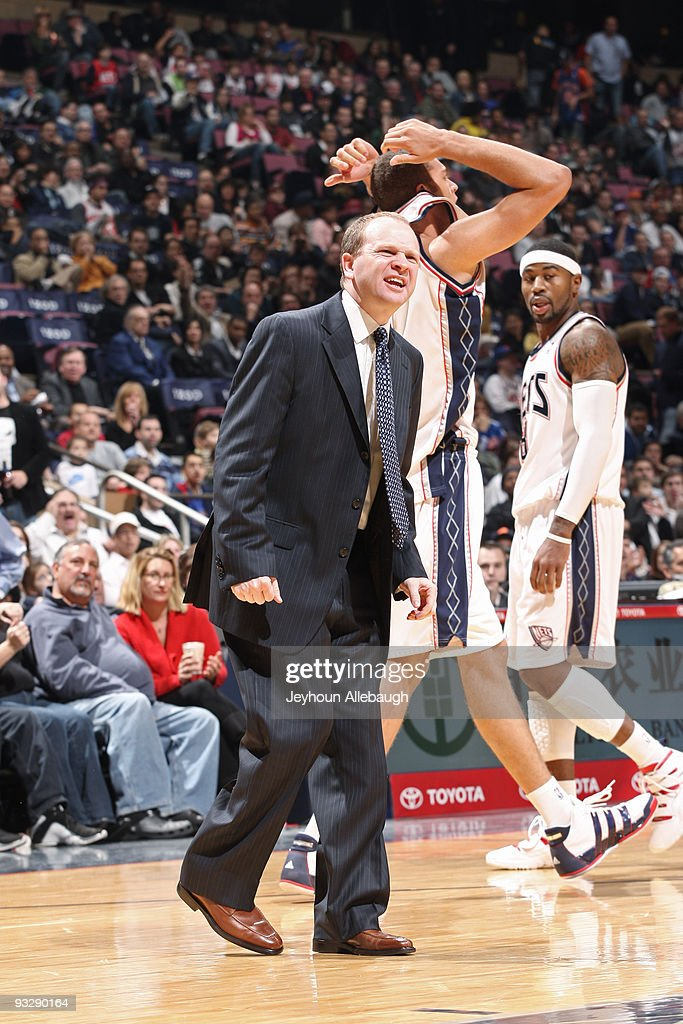 Lawrence Frank of the New Jersey Nets argues a call against the New York Knicks on November 21 2009 at the Izod Center in East Rutherford New Jersey...