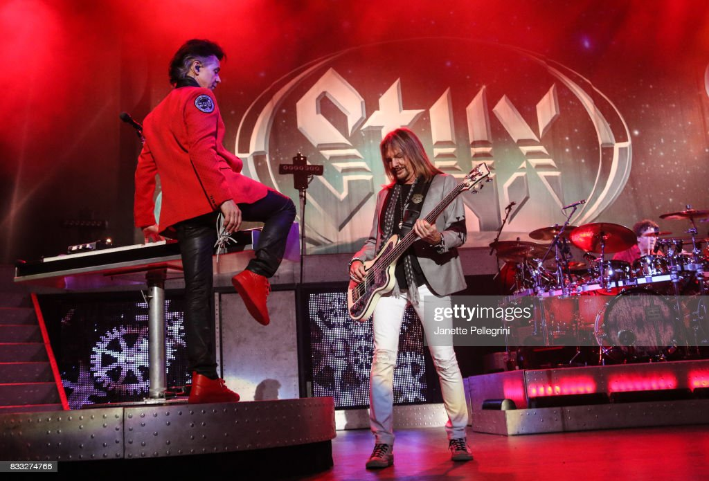 Lawrence Gowan and Ricky Phillips from Styx perform in concert at Northwell Health at Jones Beach Theater on August 16, 2017 in Wantagh, New York.