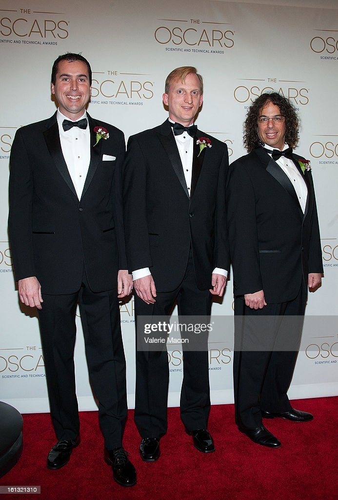Lawrence Kesteloot, Drew Olbrich and Daniel Wexler arrive at the Academy Of Motion Picture Arts And Sciences' Scientific & Technical Awards at Beverly Hills Hotel on February 9, 2013 in Beverly Hills, California.