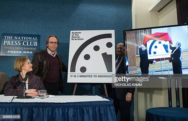 Lawrence Krauss chair of the Bulletin of Atomic Scientists' Board of Sponsors stands by the 'Doomsday Clock' showing that the world is now three...