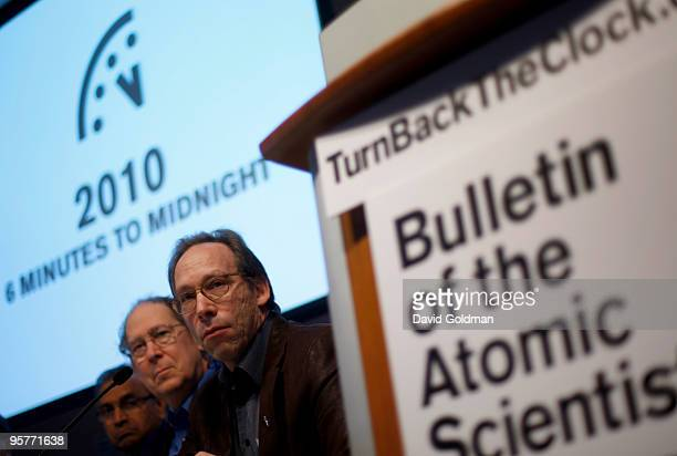 Lawrence Krauss cochair of Bulletin of the Atomic Scientist Stephen Schneider of BAS Science and Security Board and Jayantha Dhanapala of BAS Board...