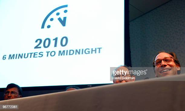 Lawrence Krauss cochair of the Bulletin of the Atomic Scientists speaks at a press conference announcing the adjustment by one minute back of the...