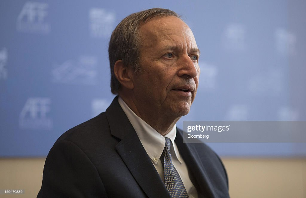 Lawrence 'Larry' Summers, professor at the John F. Kennedy School of Government, speaks during a news conference at the Asian Financial Forum in Hong Kong, China, on Monday, Jan. 14, 2013. Summers, the former top economic adviser to U.S. President Barack Obama, said China's yuan is no longer as undervalued as it was five years ago. Photographer: Jerome Favre/Bloomberg via Getty Images