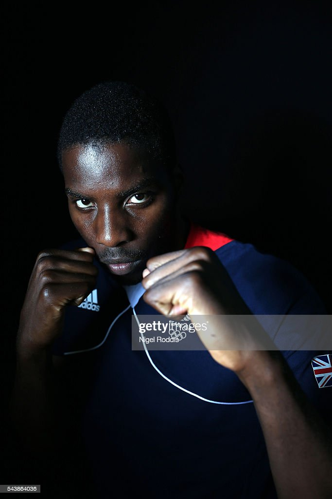 <a gi-track='captionPersonalityLinkClicked' href=/galleries/search?phrase=Lawrence+Okolie&family=editorial&specificpeople=15425902 ng-click='$event.stopPropagation()'>Lawrence Okolie</a> of Great Britain during the Announcement of Boxing Athletes Named in Team GB for the Rio 2016 Olympic Games at the Institute of Sport on June 30, 2016 in Sheffield, England.