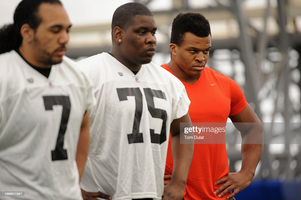 <a gi-track='captionPersonalityLinkClicked' href=/galleries/search?phrase=Lawrence+Okoye&family=editorial&specificpeople=7091502 ng-click='$event.stopPropagation()'>Lawrence Okoye</a> looks on during the NFL Media Day at The London Soccerdome on April 17, 2013 in London, England.