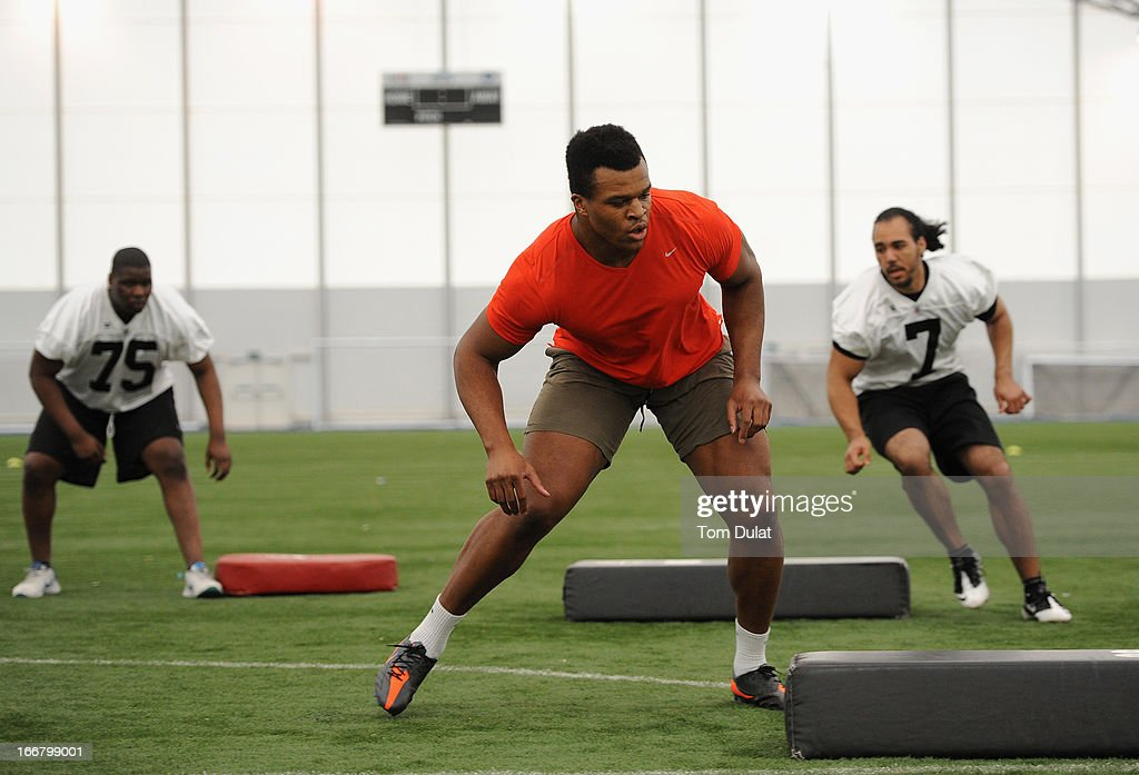 <a gi-track='captionPersonalityLinkClicked' href=/galleries/search?phrase=Lawrence+Okoye&family=editorial&specificpeople=7091502 ng-click='$event.stopPropagation()'>Lawrence Okoye</a> takes part in activities during the NFL Media Day at The London Soccerdome on April 17, 2013 in London, England.