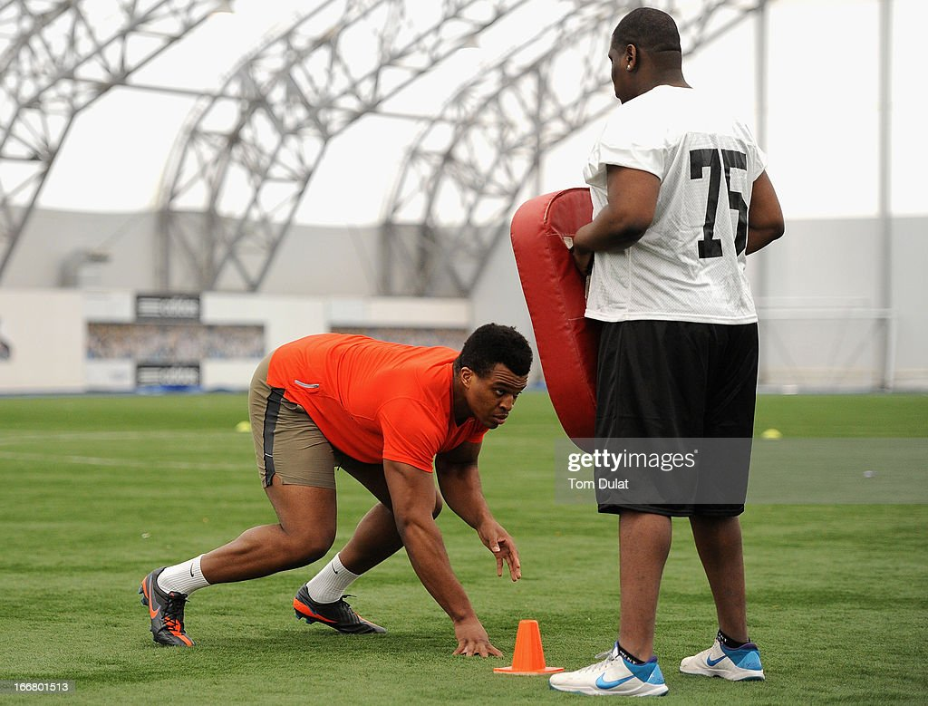 <a gi-track='captionPersonalityLinkClicked' href=/galleries/search?phrase=Lawrence+Okoye&family=editorial&specificpeople=7091502 ng-click='$event.stopPropagation()'>Lawrence Okoye</a> takes part in activities with London Warriors team during the NFL Media Day at The London Soccerdome on April 17, 2013 in London, England.