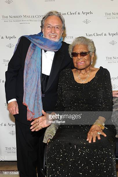 Lawrence Schiller and Dr Maya Angelou attend the Norman Mailer Center's fifth annual benefit gala at the New York Public Library on October 17 2013...