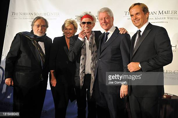 Lawrence Schiller Tina Brown Keith Richards Bill Clinton and JeanFrederic Dufour attend the 3rd Annual Norman Mailer Center Gala at the Mandarin...