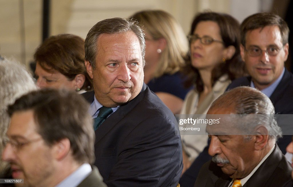 <a gi-track='captionPersonalityLinkClicked' href=/galleries/search?phrase=Lawrence+Summers&family=editorial&specificpeople=224698 ng-click='$event.stopPropagation()'>Lawrence Summers</a>, director of the National Economic Council, arrives to the East Room of the White House for a reception of the confirmation for Elena Kagan's nomination to the Supreme Court in Washington, D.C., U.S., on Friday, Aug. 6, 2010. Kagan will become the nation's 112th justice tomorrow at a U.S. Supreme Court ceremony after the Senate gave President Barack Obama his second appointment to the high court in two years. Photographer: Andrew Harrer/Bloomberg via Getty Images