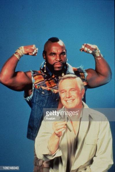 Mr T and Front GEORGE PEPPARD American Actors Stars of the TV series 'The ATeam'