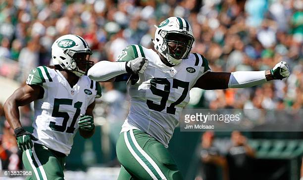 Lawrence Thomas of the New York Jets in action against the Cincinnati Bengals on September 11 2016 at MetLife Stadium in East Rutherford New Jersey...