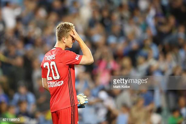 Lawrence Thomas of the Victory looks dejected after defeat during the round five ALeague match between Sydney FC and the Melbourne Victory at Allianz...