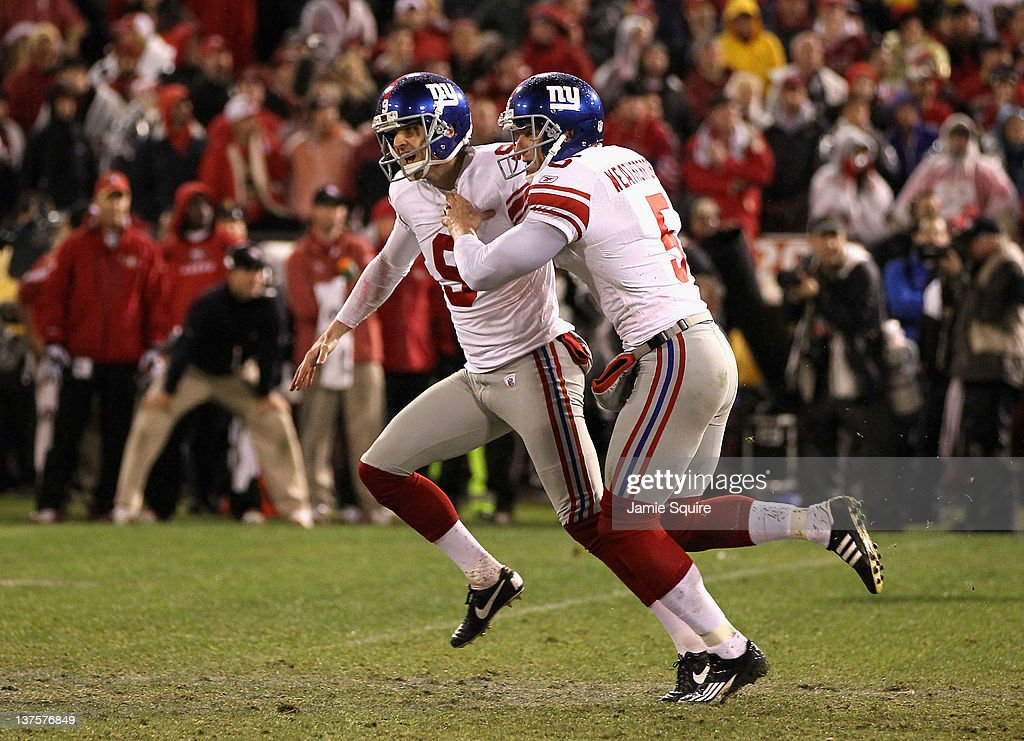 <a gi-track='captionPersonalityLinkClicked' href=/galleries/search?phrase=Lawrence+Tynes&family=editorial&specificpeople=966003 ng-click='$event.stopPropagation()'>Lawrence Tynes</a> #9 and Steve Weatherford #5 of the New York Giants celebrate after Tynes kicked the game-winning field goal in overtime against the San Francisco 49ers during the NFC Championship Game at Candlestick Park on January 22, 2012 in San Francisco, California.