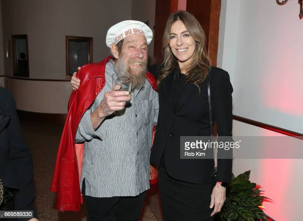 Lawrence Weiner and Kathryn Bigelow attend The Kitchen's Spring Gala 2017 at Hammerstein Ballroom on April 17 2017 in New York City