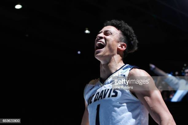 Lawrence White of the UC Davis Aggies celebrates defeating the North Carolina Central Eagles 6763 during the First Four game in the 2017 NCAA Men's...