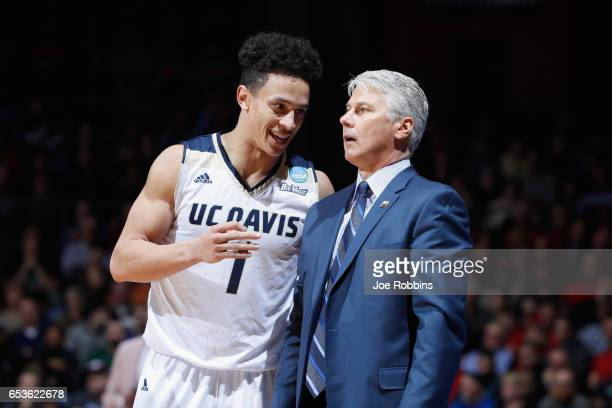 Lawrence White of the UC Davis Aggies reacts with head coach Jim Les in the second half against the North Carolina Central Eagles during the First...
