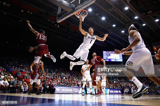 Lawrence White of the UC Davis Aggies shoots the ball in the first half against the North Carolina Central Eagles during the First Four game in the...