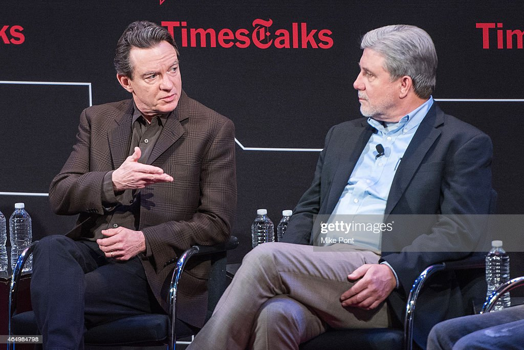 Lawrence Wright (L) and Mike Rinder attend TimesTalks Presents An Evening With 'Going Clear: Scientology and the Prison of Belief' at The Times Center on March 2, 2015 in New York City.