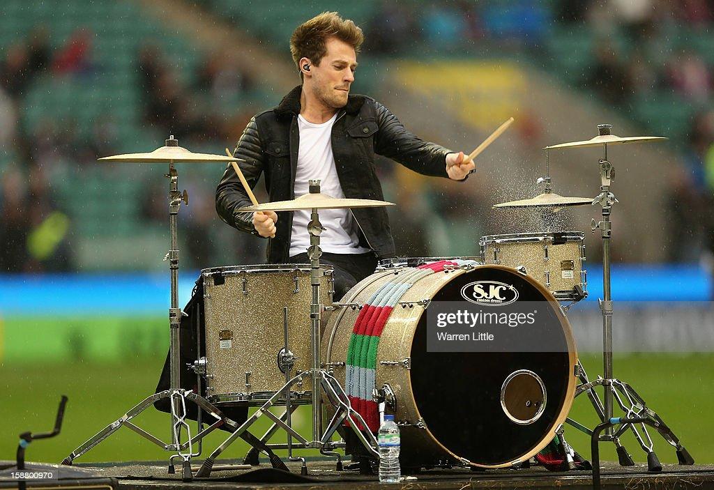 Lawson drummer Adam Pitts performs prior to the Aviva Premiership match between Harlequins and London Irish at Twickenham Stadium on December 29, 2012 in London, England.
