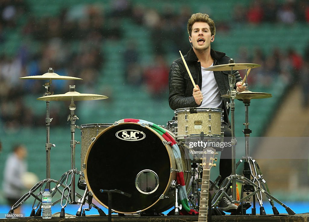 Lawson drummer Adam Pitts performs prior to the Aviva Premiership match between Harlequins and London Irish at Twickenham Stadium on December 29, 2012 in London, England.