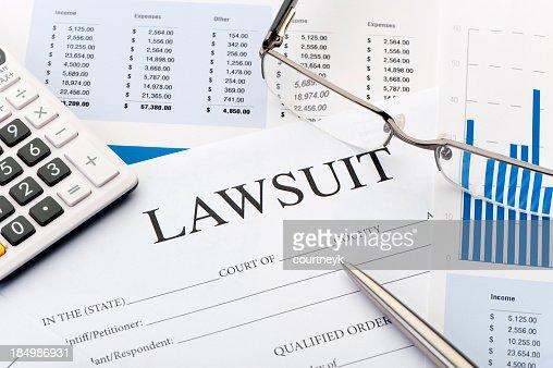 Lawsuit form an a desk