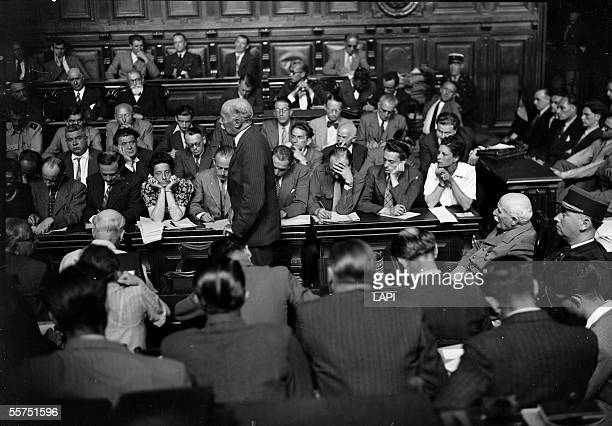 Lawsuit of the marshal Petain French statesman Testimony of Michel Clemenceau To the left Joseph Kessel and Madeleine Jacob among the journalists...