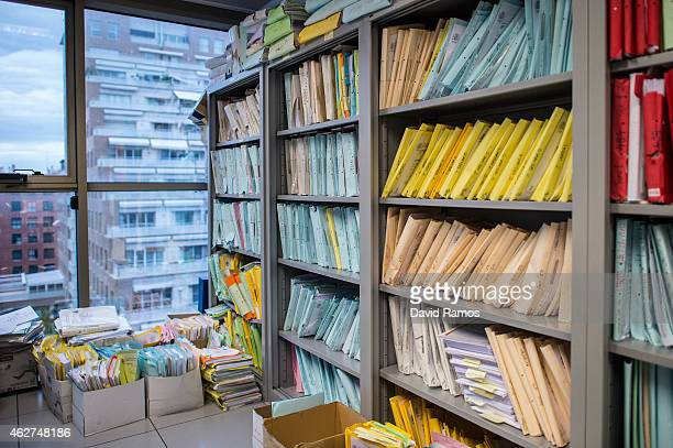 Lawsuits' files are seen on the stands of the Commercial Court number 3 on February 4 2015 in Valencia Spain The Commercial Court number 3 of...