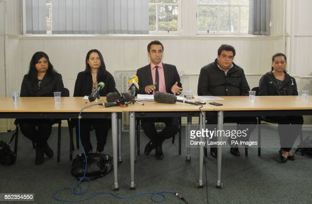 Lawyer Aamer Anwar is pictured with the sisters and brother of Mumtaz Sattar Razwana Jilani Mehnaz Jilani Sarfraz Ali and Shabana Khan during a press...