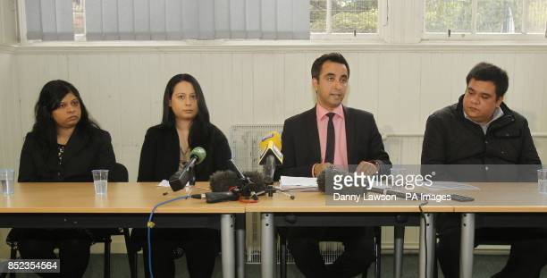 Lawyer Aamer Anwar is pictured with the sisters and brother of Mumtaz Sattar Razwana Jilani Mehnaz Jilani and Sarfraz Ali during a press conference...