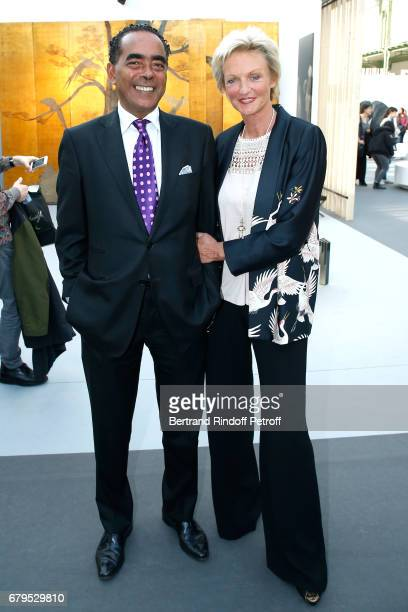Lawyer Alexandre Ursulet and his wife Princess Anne de Bourbon Siciles attend the 'Revelations' Fair at Balcon d'Honneur du Grand Palais on May 5...