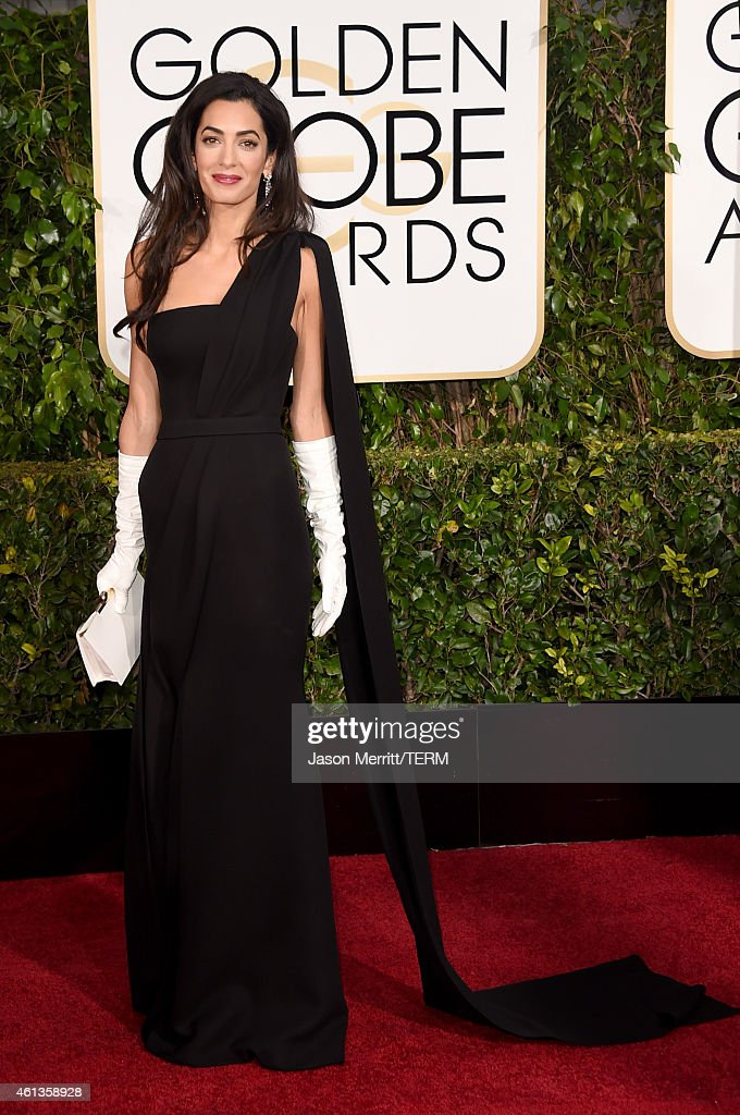 Lawyer Amal Alamuddin Clooney attends the 72nd Annual Golden Globe Awards at The Beverly Hilton Hotel on January 11 2015 in Beverly Hills California