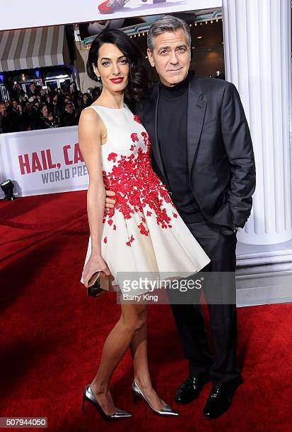 Lawyer Amal Clooney and actor George Clooney attend the Premiere of Universal Pictures' 'Hail Caesar' at the Regency Village Theatre on February 1...