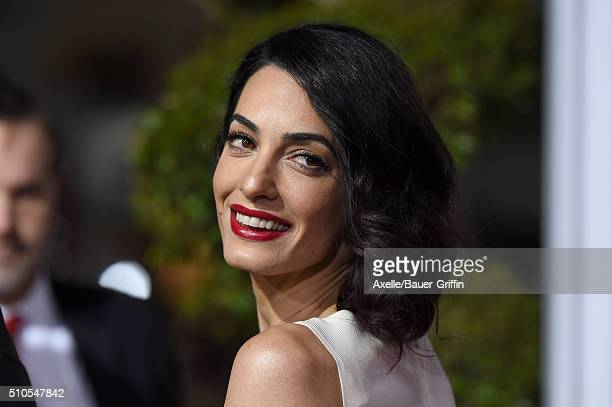Lawyer Amal Clooney arrives at the premiere of Universal Pictures' 'Hail Caesar' at Regency Village Theatre on February 1 2016 in Westwood California
