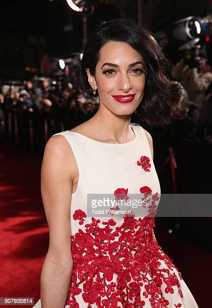 Lawyer Amal Clooney attends Universal Pictures' 'Hail Caesar' premiere at Regency Village Theatre on February 1 2016 in Westwood California