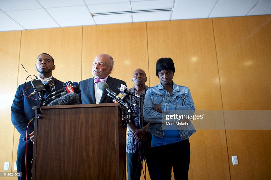 Lawyer Billy Murphy (2nd-L) speaks as Richard Shipley (2nd-R) and Gloria Darden (R), the step-father and mother of Freddie Gray, listen during a press conference at Murphy, Falcon & Murphy Law Firm after Baltimore police officer Caesar Goodson Jr. was found not guilty on all charges on June 23, 2016 in Baltimore, Maryland. Officer Goodson, the van driver in the Freddie Gray case, is facing multiple charges including second-degree murder. This is the third trial related to the death of Freddie Gray, who died while in police custody.
