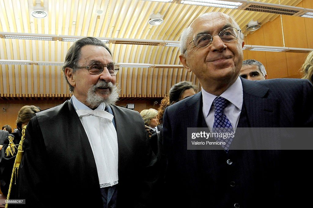Lawyer Cesare Zaccone, representing the Belgian defendant, and prosecutor Raffaele Guariniello attend the Eternit asbestos trial verdict at the Turin courthouse on February 13, 2012 in Turin, Italy. The Turin court has convicted Swiss billionaire Stephan Schmidheiny and Belgian baron Jean-Louis de Cartier for 16 years each after they were accused of involuntary manslaughter and disregard for workplace safety regulations, after a three year trial. Around 1500 relatives and friends of the alleged 3000 victims attended the final day of the trial with 160 foreign delegations attending from all over the world.