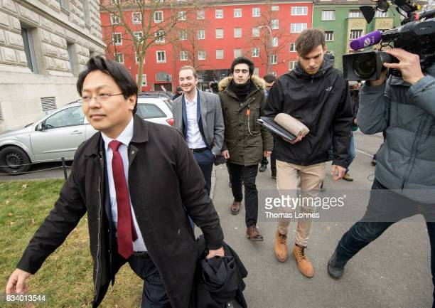 Lawyer ChanJo Jun and the Syrian refugee Anas Modamani arrive for the court session over Modamani's lawsuit against Facebook at the Landgericht...