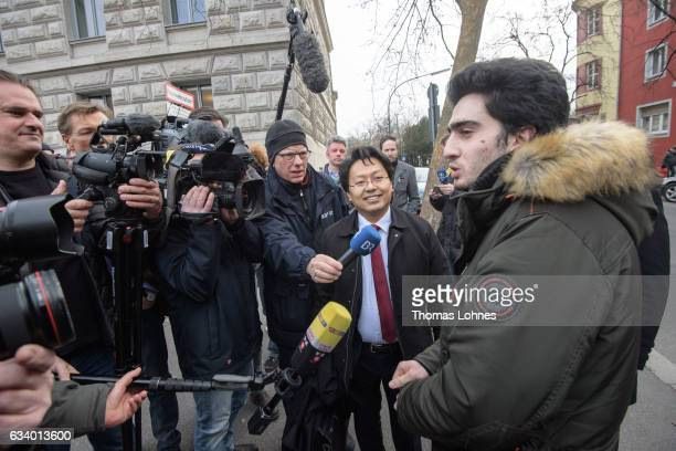Lawyer ChanJo Jun and the Syrian refugee Anas Modamani speaks to the media prior to the court session over Modamani's lawsuit against Facebook at the...