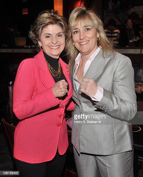 Lawyer Gloria Allred and WBC Women's Super Welterweight Champion Christy Martin attend the Bob Arum and Don King press conference to announce Miguel...