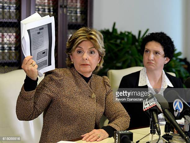 Lawyer Gloria Allred speaks during a news conference with Ann Russo a friend and a social worker of Summer Zervos the former contestant on the TV...