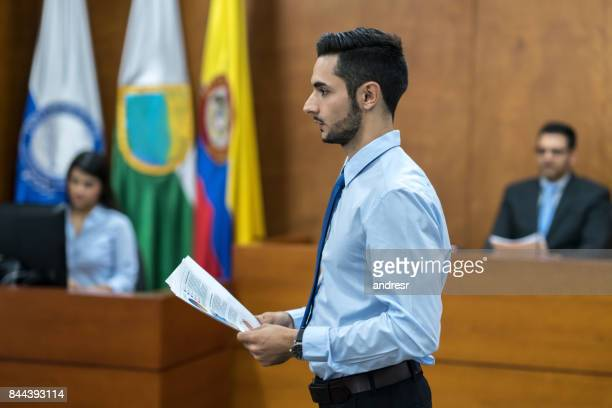 Lawyer in trial at a Colombian court