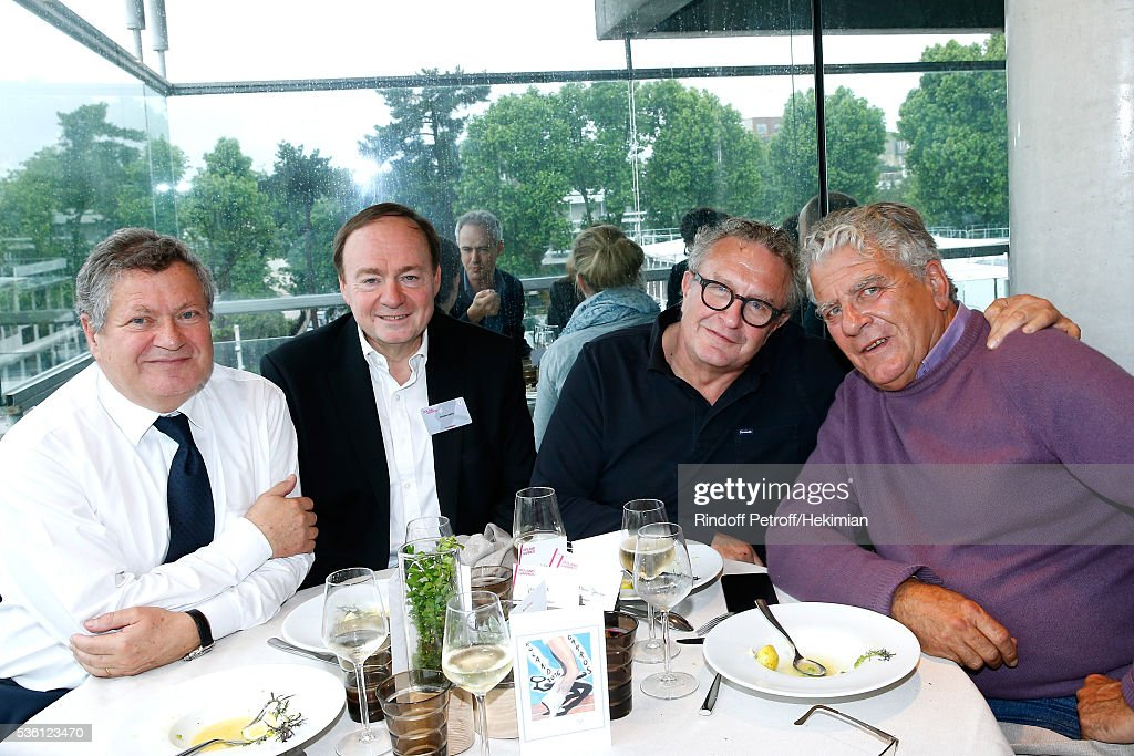Lawyer Jean Veil, journalists Jerome Jaffre, Michel Field and autor Olivier Duhamel attend the 'France Television' Lunch during Day Ten of the 2016 French Tennis Open at Roland Garros on May 31, 2016 in Paris, France.
